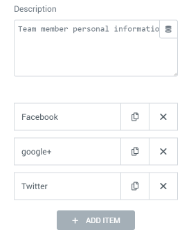 Team Member widget Content settings