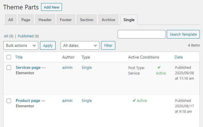 Single Page tab
