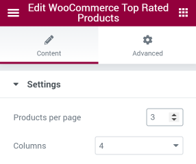 WooCommerce Top Rated Products widget settings