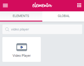 Video Player widget for Elementor