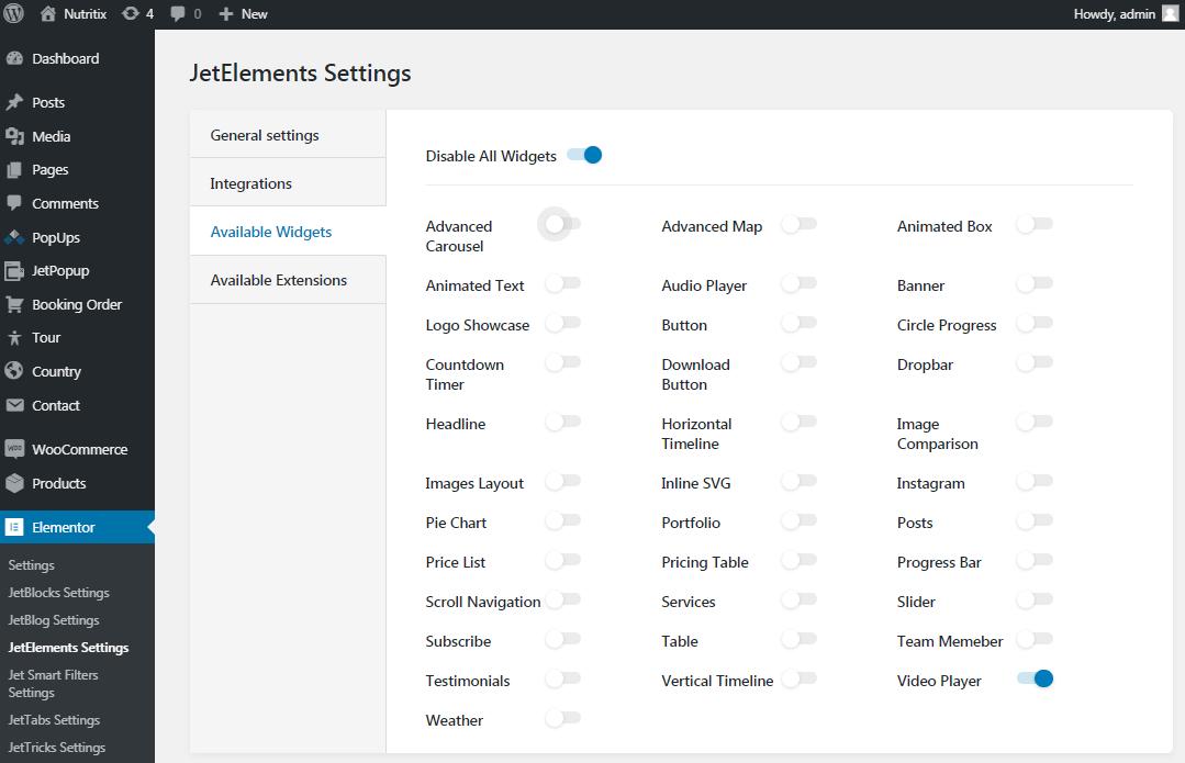 JetElements settings