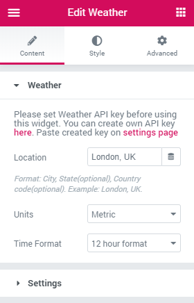 weather settings block
