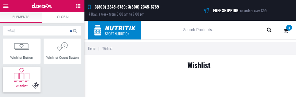 Wishlist widget