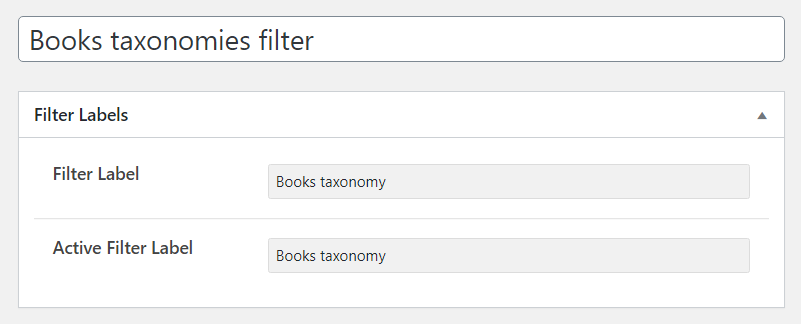 books taxonomies filter