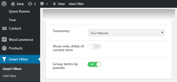 Group terms by parents option