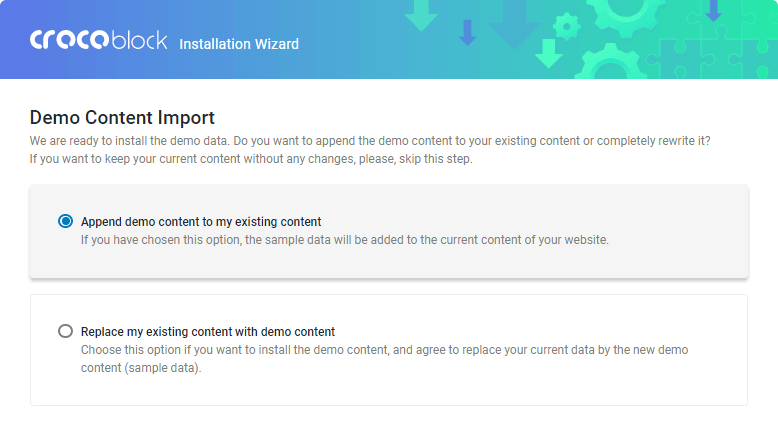 Demo Content Import via Crocoblock Wizard