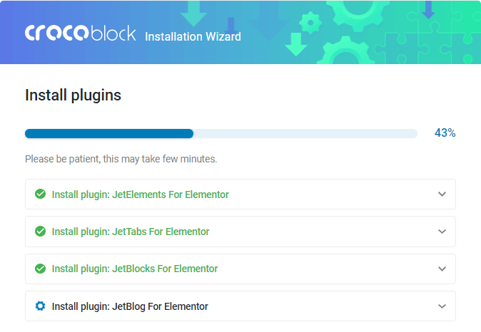 Crocoblock Wizard plugins installation