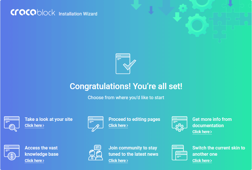 Congratulations! You're all Set! page in Crocoblock Wizard
