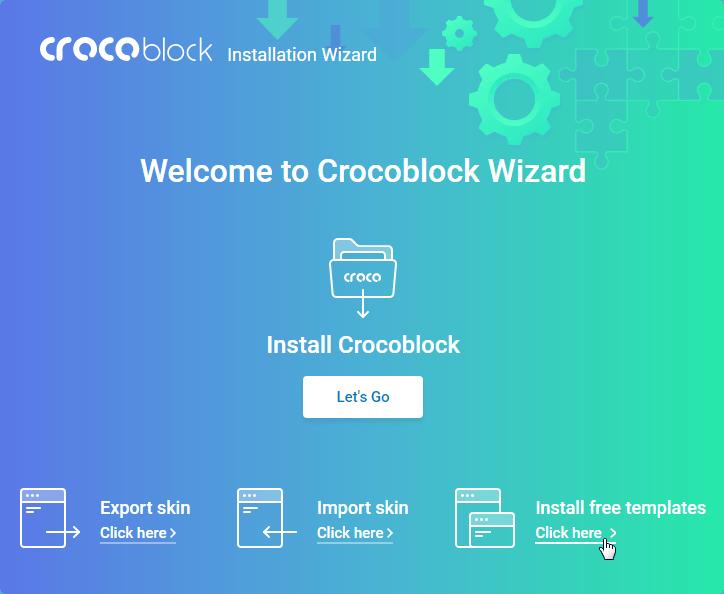 Crocoblock Wizard start screen