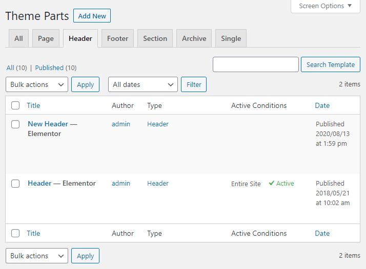 theme builder header tab