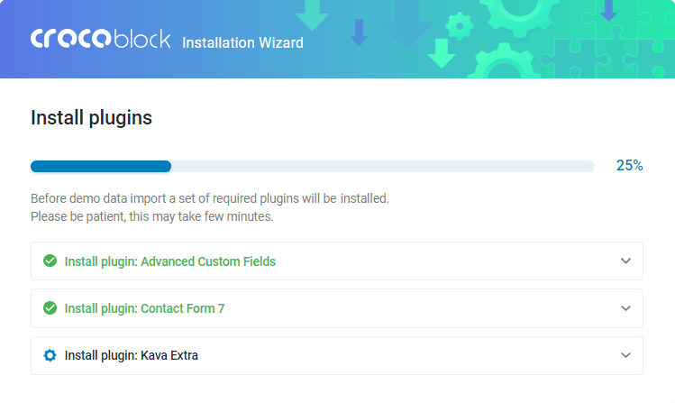 Crocoblock Wizard installation progress
