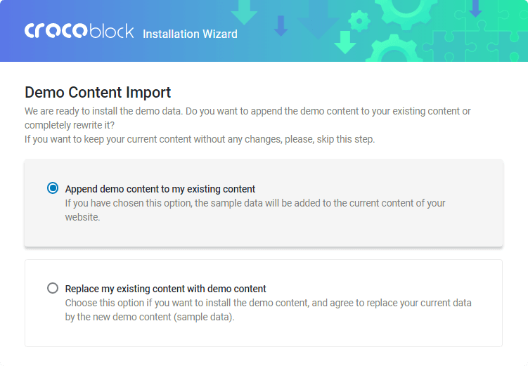Crocoblock Wizard Demo Content import