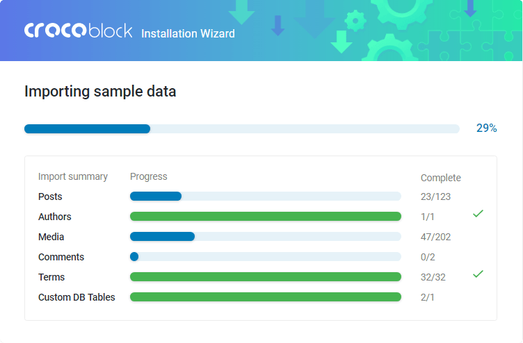 Crocoblock Wizard sample data importing