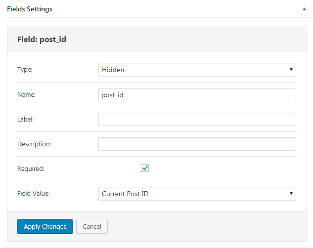 Booking Form field settings