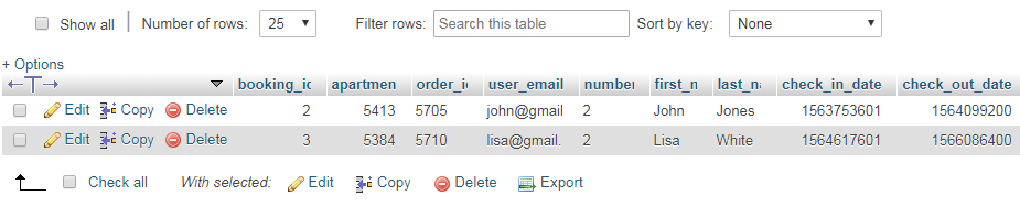 Booking Table in database