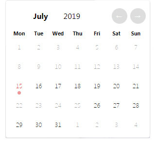 Check-in/check-out dates selection