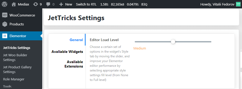 Load Level Editor in WP Dashboard