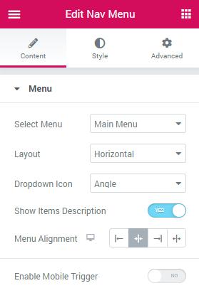nav menu settings