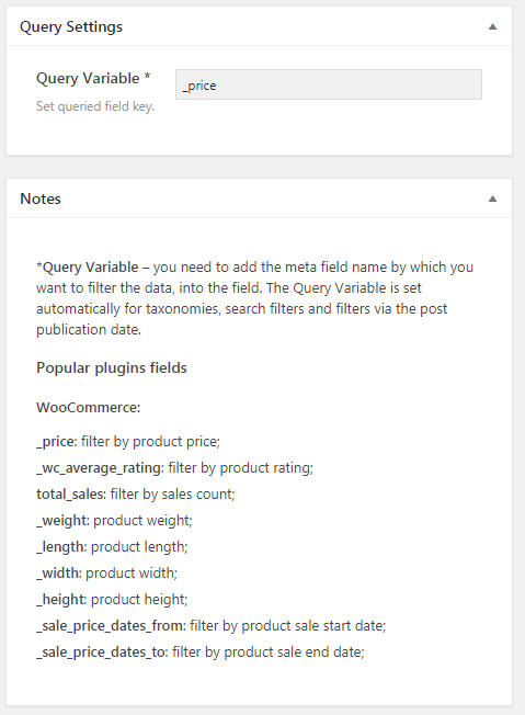 Query settings with the helpful notes