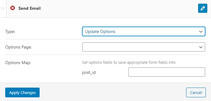update options notification type