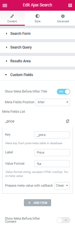 Custom Fields content settings in Ajax Search widget