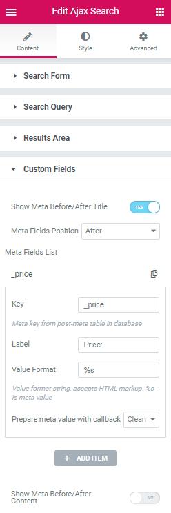 Custom Fields content settings in Ajax Search widget