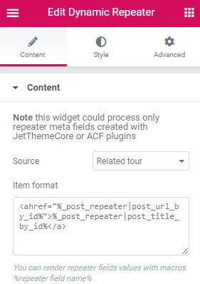 dynamic repeater widget