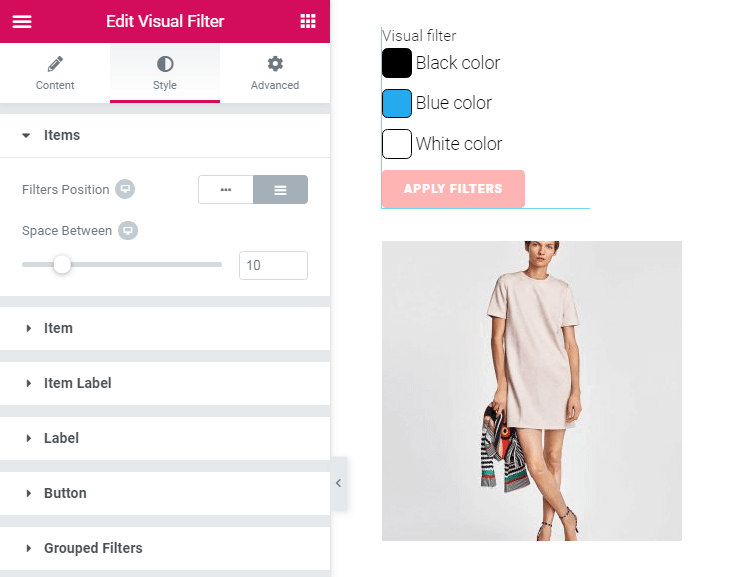 Style settings in Visual filter