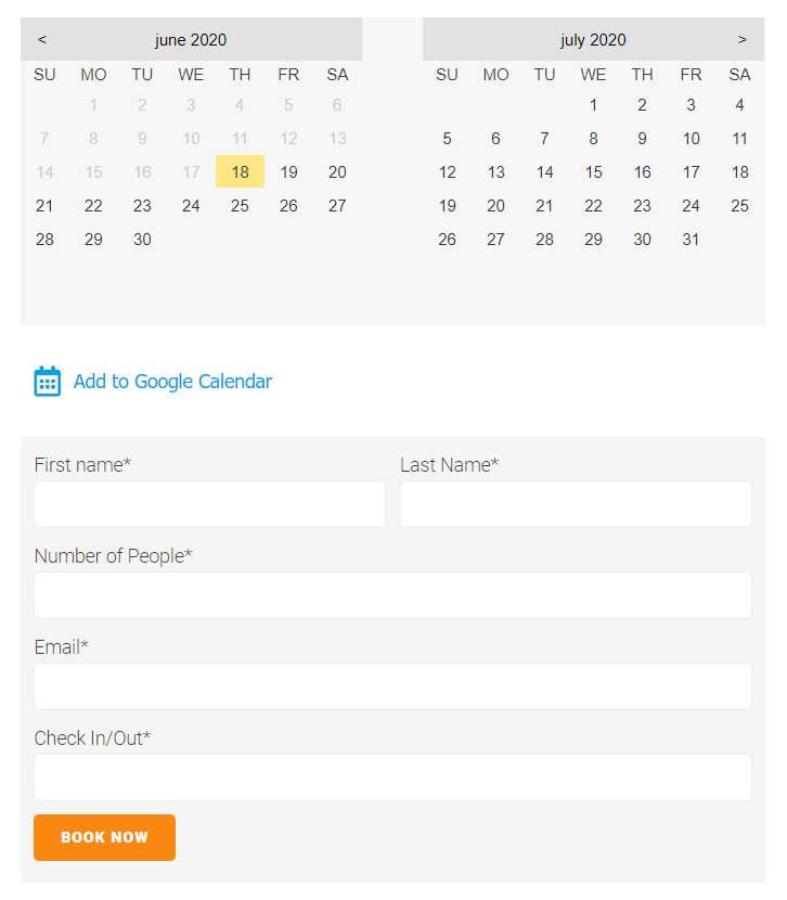 Add to calendar link front look