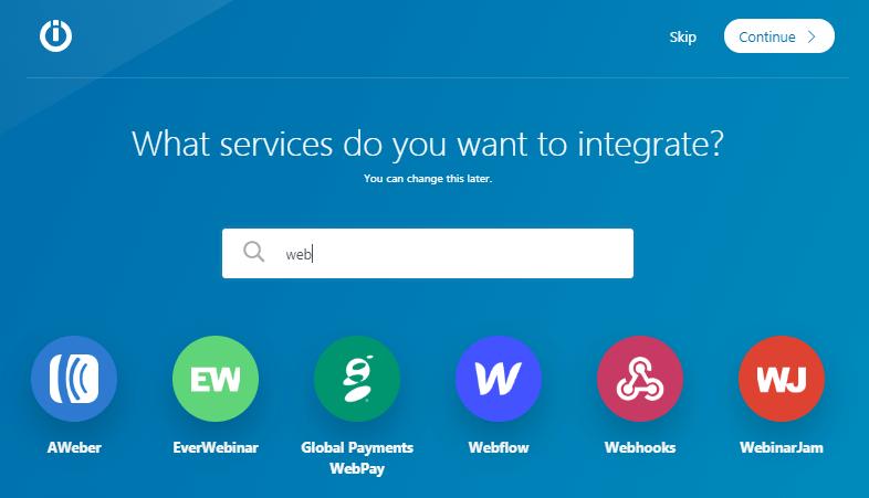 choosing the webhooks in the integromat menu