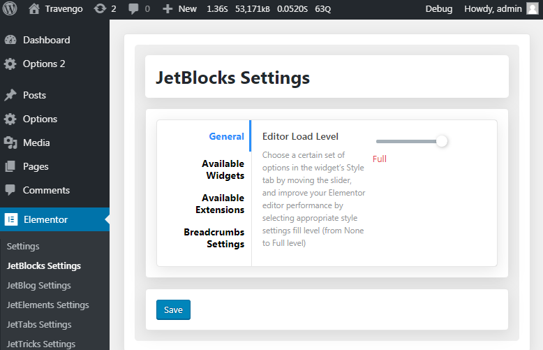 Specify the editor load level for JetBlocks widgets | Crocoblock