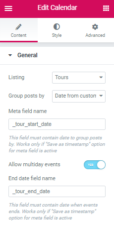 listing calendar widgets settings