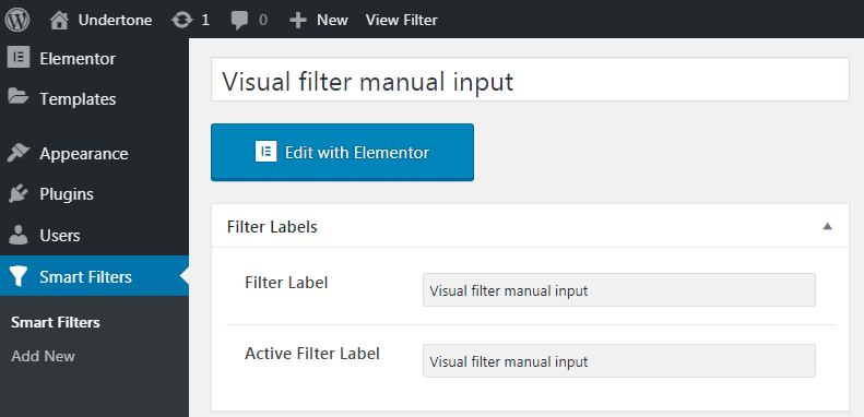 Visual filter with manual input settings