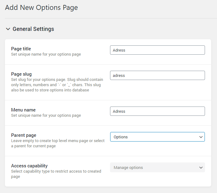 Options Page General Settings