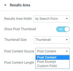 Results Area settings in Ajax Search widget