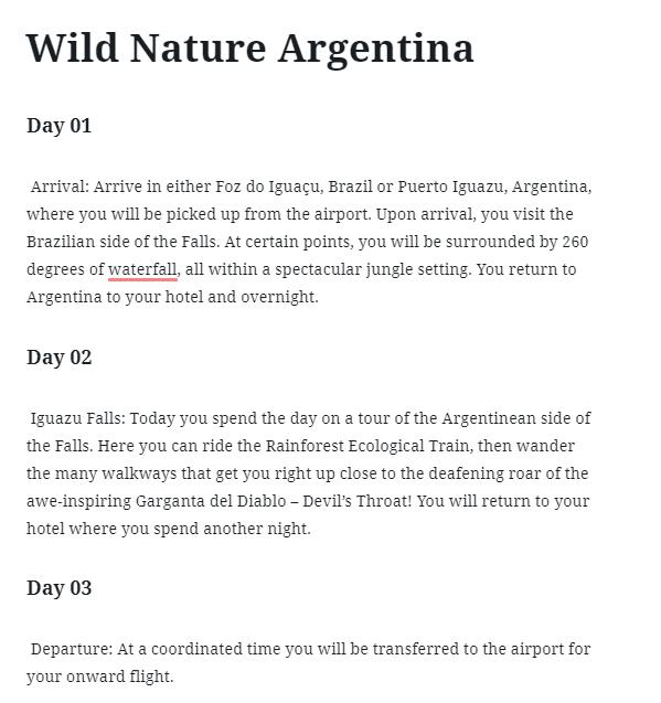 Wild Nature Argentina custom post