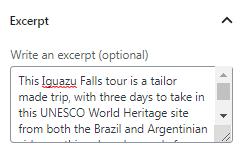 Excerpt settings in Ajax Search widget