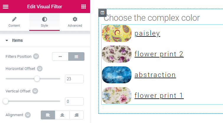 Items style settings for the Visual Filter widget