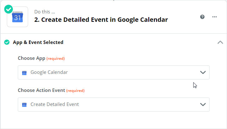 App & Event Selected