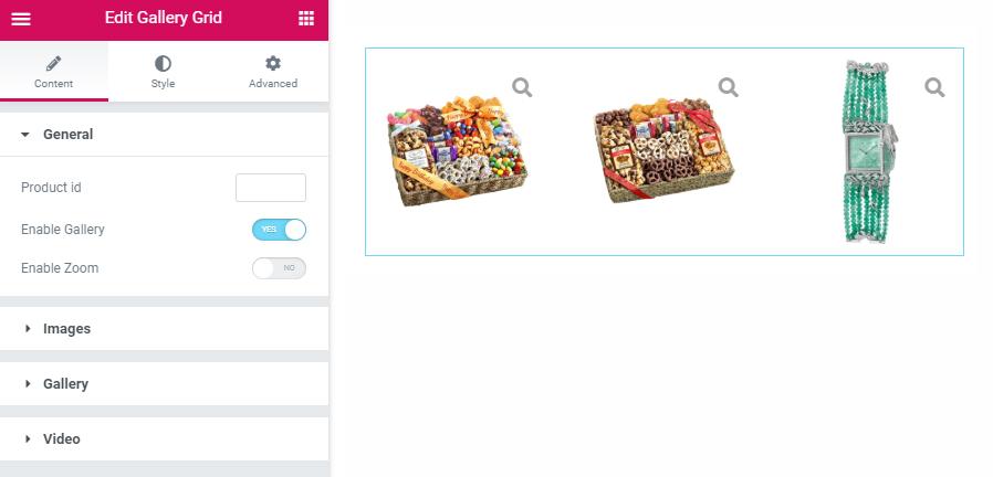 Gallery Grid widget Elementor settings