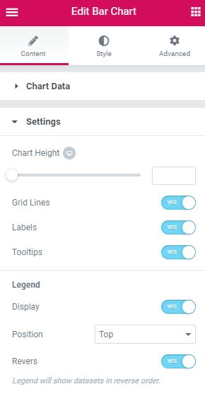 bar Chart settings block