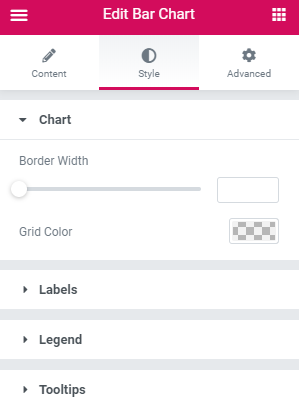 style settings of the Bar Chart widget