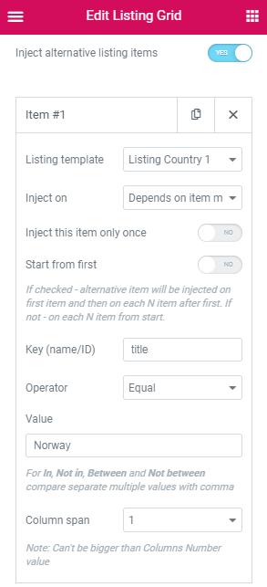 an alternative listing in the Listing Grid widget