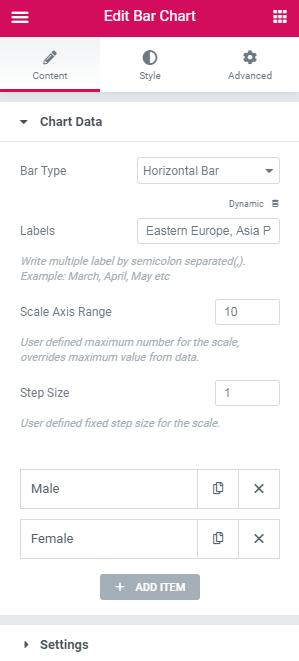 chart data settings