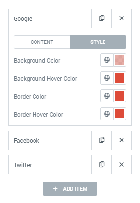 Chart data item style settings