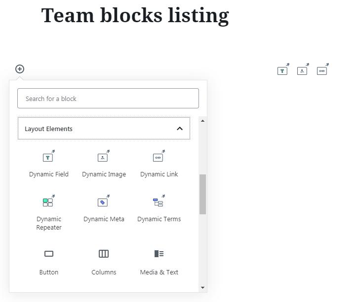 listing in blocks editor