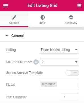 elementor listing grid