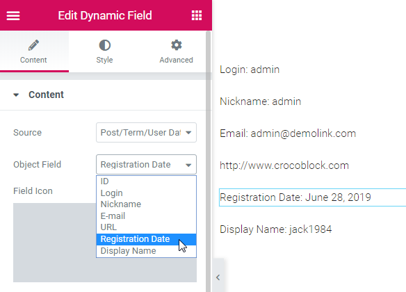 Post/Term/User Data in the Dynamic Field