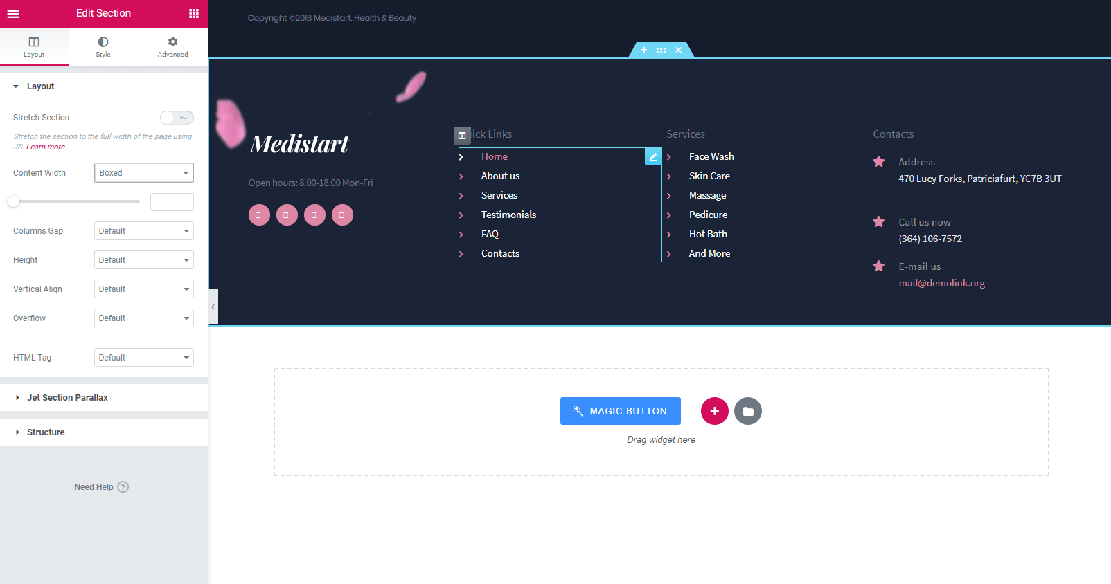 Magic Button Footer