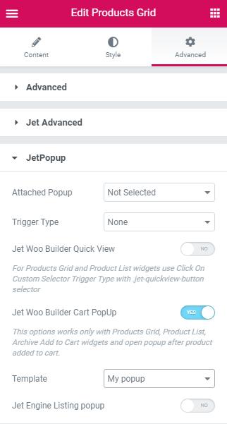 Enable JetWooBuilder Cart Popup option